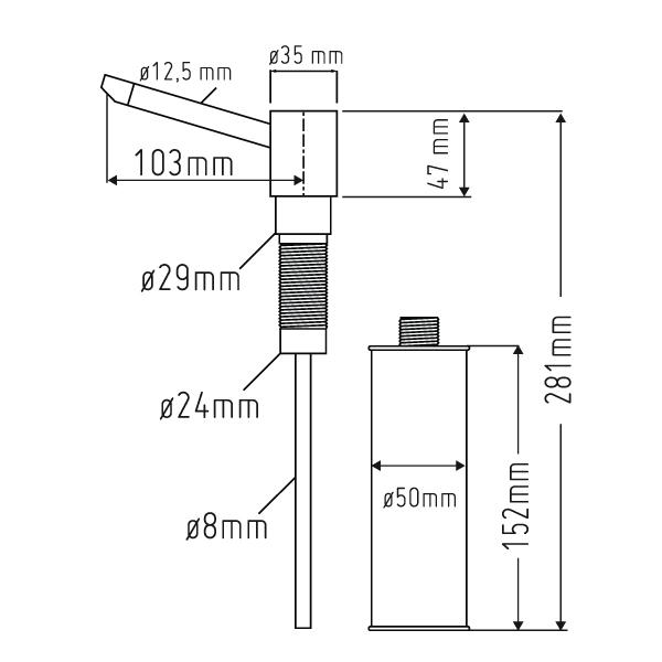 Nieuw RVS Zeepdispenser Keuken inbouw QA-07